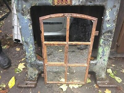 Vintage Cast  Iron Arched Industrial Metal Mirror Window  6 Pane Over mantle