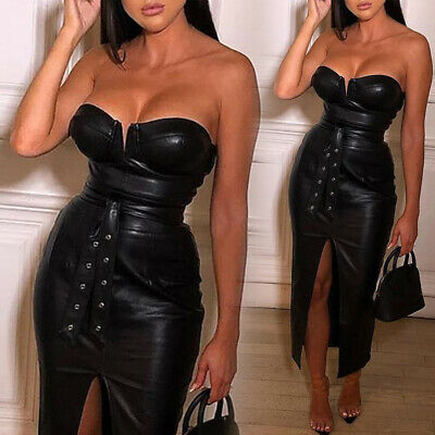 Damen Wetlook Lack Leder Kleid Bodycon-Kleid Cocktail Abend Party Split Kleider