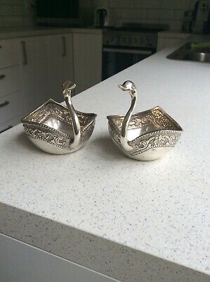 Appealing Pair of Solid Silver figural swan bowls, 278g