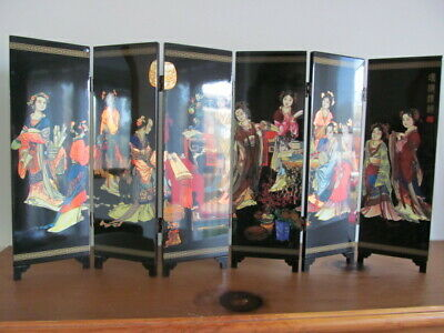 Oriental Chinese Lacquered Folding Bedroom Screen Divider Vintage Beautiful +Box