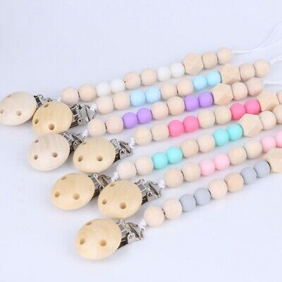Wooden Baby Pacifier Clip Chain Holder Nipple Leash Strap Pacifier Soother yua