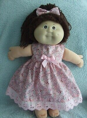"""16"""" CABBAGE PATCH Dolls Clothes / DRESS*HEADBAND  /multi coloured flowers*pink"""
