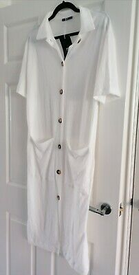 Brand New With Tags Zara White midi oversized casual shirt dress.Size Small 8/10