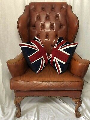 1 Quality Antique Regency Chesterfield Style Leather Bespoke Wingback Armchair