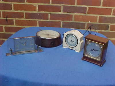 3 x  VINTAGE ENGLISH ELECTRIC CLOCKS & ELLIOT MANTEL CLOCK