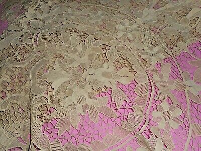 Outstanding large antique needle lace table or bed cover.
