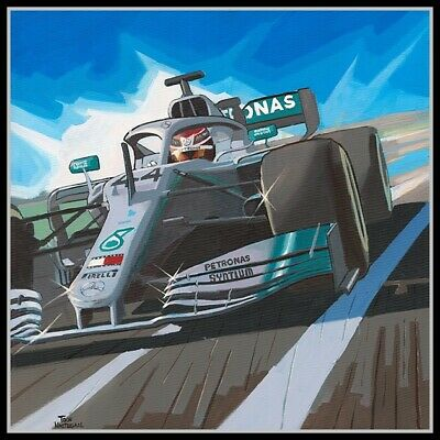 Painting Lewis Hamilton 6 times WC Comic Collection by Toon Nagtegaal