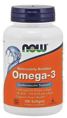 NOW Omega 3 Fish Oil 1000mg - 100 Softgels Molecularly Distilled EPA/DHA
