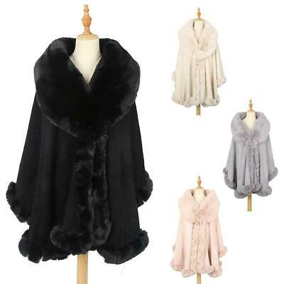 Womens Ladies Winter Warm Soft Fleece Faux Fur Collar And Cuffs Poncho Cape Wrap