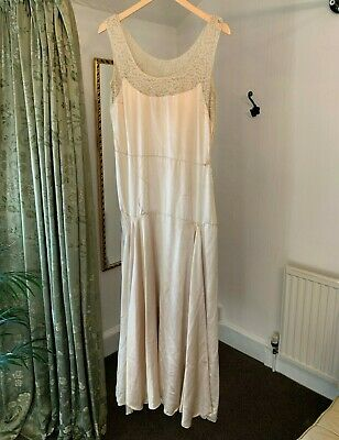 Original Vintage 1920s Silk and Lace Wedding Dress Bridal. For Study or Repair.