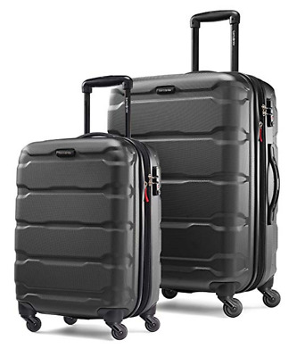 "Samsonite Omni Hardside 2 Piece Nested Spinner Luggage Set 20, 24"" Black NEW"