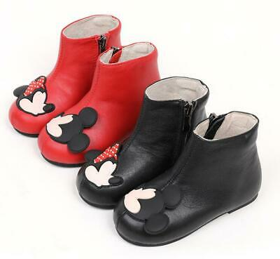 Warm Baby Toddler Fur Lined Cartoon Shoes Girls Dress Flat Leather Ankle Boots