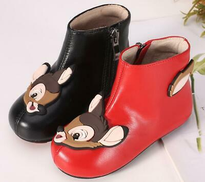 Baby Deer Warm Toddler Fur Lined Cartoon Shoes Girls Dress Leather Ankle Boots