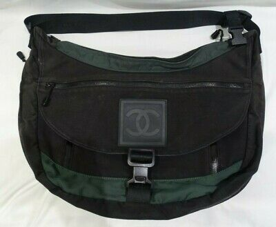 HTF AUTHENTIC Extra Large CHANEL Black Canvas Sports Messenger Bag