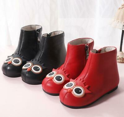 Girls Owl Winter Warm Cute Fur Lined Kids Leather Shoes Baby Toddler Ankle Boots