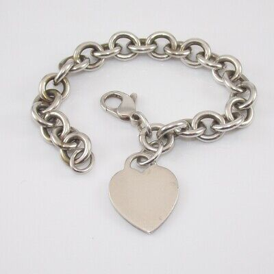 Tiffany & Co. Sterling Silver Round Cable Rolo Chain Link Heart Bracelet SGD