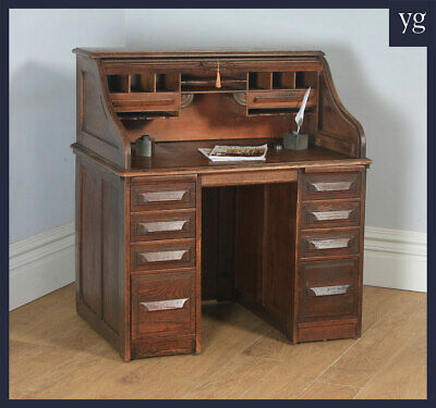 "Antique English George V 3ft 6"" Oak Roll Top Pedestal Office Desk (Circa 1920)"