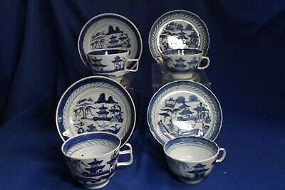 4 Antique Chinese Export Canton Blue & White C & Saucers 3 Styles Few Edge Frits