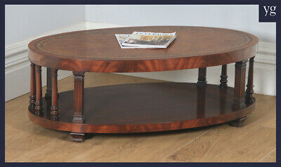 Vintage English Georgian Style Flame Mahogany & Leather Oval Coffee Table c1970