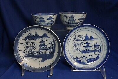 4 Antique Chinese Export Canton Blue & White 2 Rice Bowls (2Chips) & 2 Plates