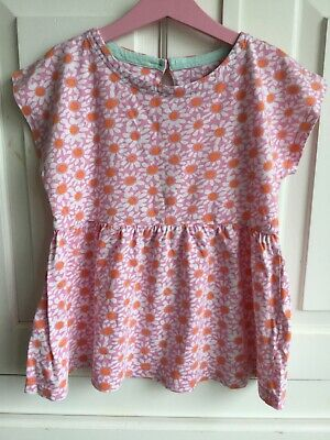 Mini Boden girls top smock pink orange white daisy age 7-8