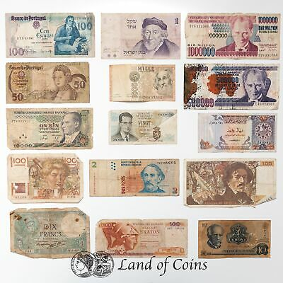 BANKNOTE CEMETARY: 30 Mixed Currency Damaged Banknotes.