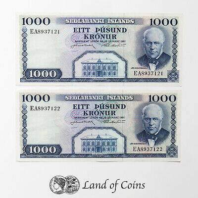 ICELAND: 2 x 1,000 Icelandic Krona Banknotes with Consecutive Serial Numbers.