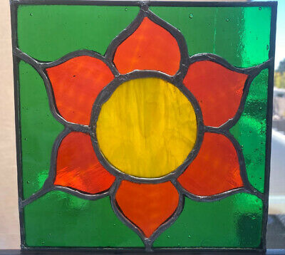 "Vintage Leaded Stained Glass Pane Handmade Flower Panel Antique  7.5"" Square"