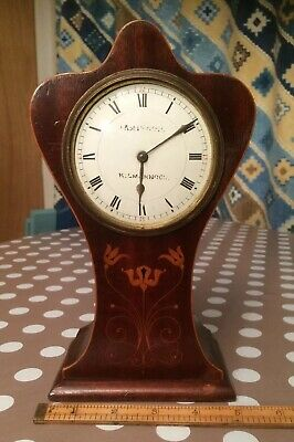 "vintage inlaid mantle clock. Art deco. Needs glass & a key. 9 & a 1/2 "" tall"