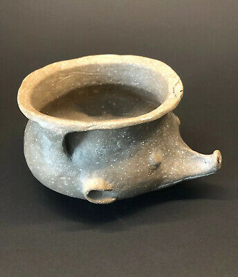 MLC s4505 Old Zoomorphic Possum Effigy Strap Pot Mississippian Pottery Ark - Mo