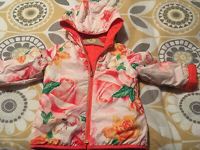 Girls Gorgeous Ted Baker Reversible Floral Jacket Coat, Age 2-3 Years