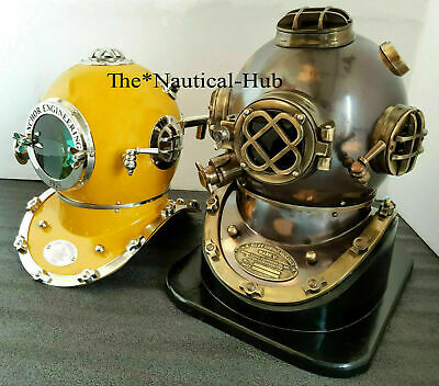 Diving Helmet With Wooden Base Anchor Engineering Scuba Yellow X-Mas Style