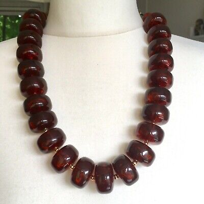 Vintage Art Deco Amber Red Bakelite Chunky Necklace