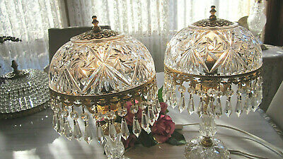 Pair Vintage Solid French Cut Crystal Dome Brass Chandelier Prism Parlor Lamps