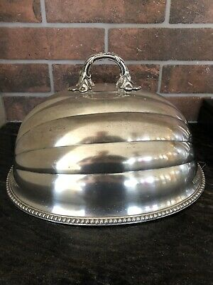 Large Antique Meat Food Cover. Big Silver Plated Dome 14""