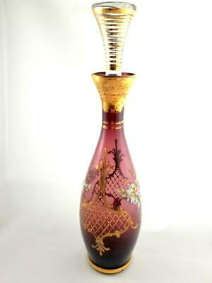 Bohemian Amethyst Hand Painted Art Glass  Decanter Carafe Gold  Trim Floral