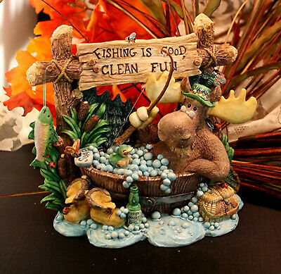 Adorable, Whimsicle Fishing Moose by Enesco , Vintage (1995) by David Olsen