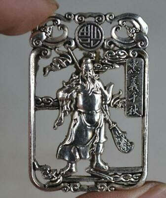 Old Decoration Miao Silver Carving Guan Gong Statue Pendant / Amulet a01
