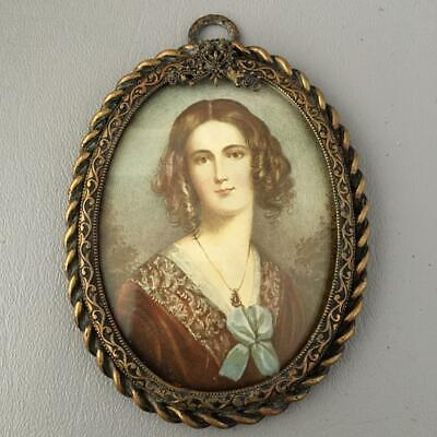 Antique Vtg Germany Bronze Brass Filigree Rope Miniature Picture Portrait Frame