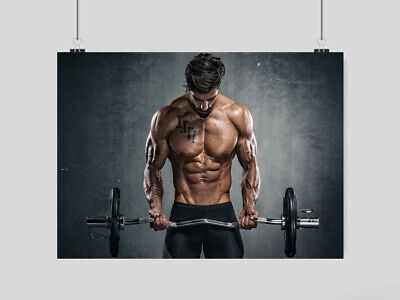 Gym Bodybuilding Sexy Hot Ripped Man Poster Fitness Weights Art Print A3 A4 Size