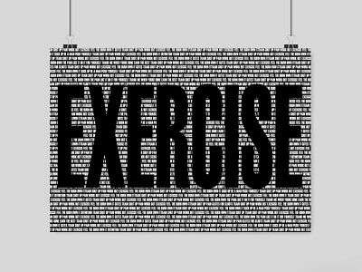 Gym Bodybuilding Exercise In Letters Poster Motivation Fitness Art A3 A4 Size