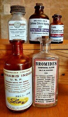 Old Medicine Bottle Hand Crafted,Cocaine,Cannabis,Bromides w/Can,Drinalfa,Caffie