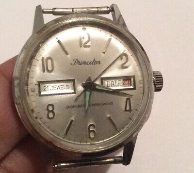 Vintage Princeton 21 Jewels Day Date Unbreakable Mainspring Watch Not Working