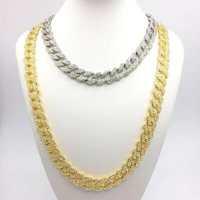 Hip Hop Mens Quavo Gold Plated Iced 18''-30'' Miami Cuban Choker Chain Necklace