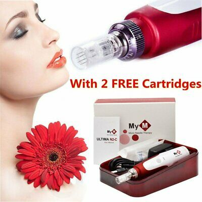 Electric Derma Pen Auto dermaroller Anti Aging Skin Therapy + 2Pcs Microneedles