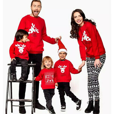 UK Christmas Kids Mom Dad Hooded Pullover Sweatshirt Jumper Family Matching Tops