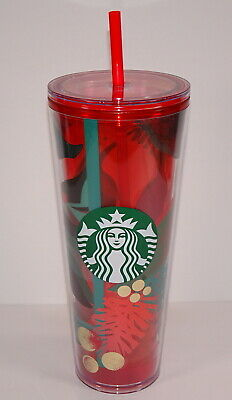 New = Starbucks 2019 Christmas Holiday Red Green Gold Holly Cold Tumbler Cup