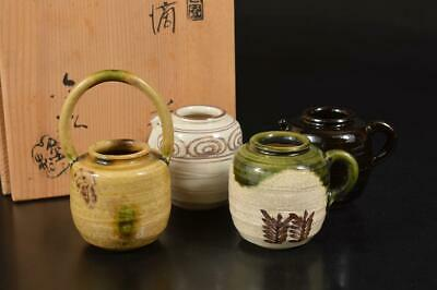 A137: Japan Kiyomizu-ware Seto glaze TEA CADDY Chaire Container w/signed box