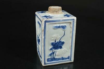 A112: Japanese Old Imari-ware Lotus Bird pattern TEA CADDY Chaire Container