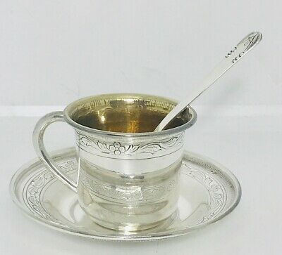 European Sterling solid silver cup and saucer set ,Portugal, Hallmarked (#2)